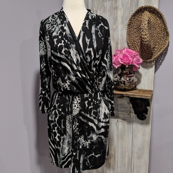Chico's Dresses & Skirts - Chico's animal print, wrap top, 3/4 sleeve dress